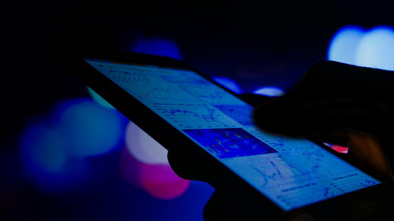 Mobile phone at night